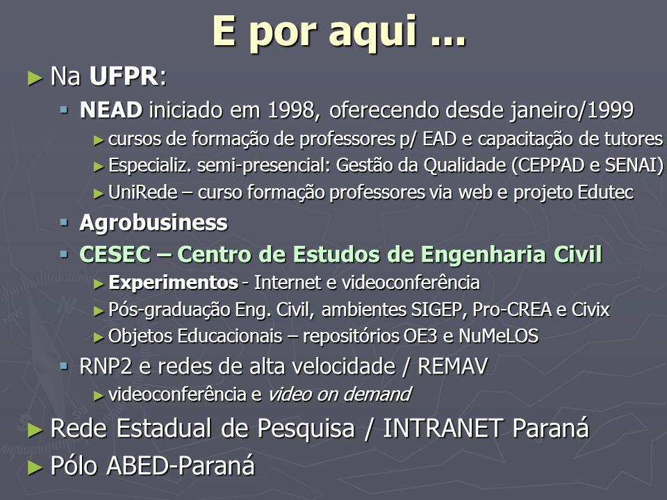 E por aqui ... Na UFPR: Rede Estadual de Pesquisa / INTRANET Paraná