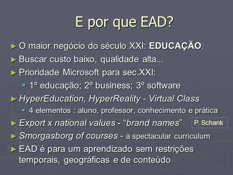 E por que EAD O maior negócio do século XXI: EDUCAÇÃO.