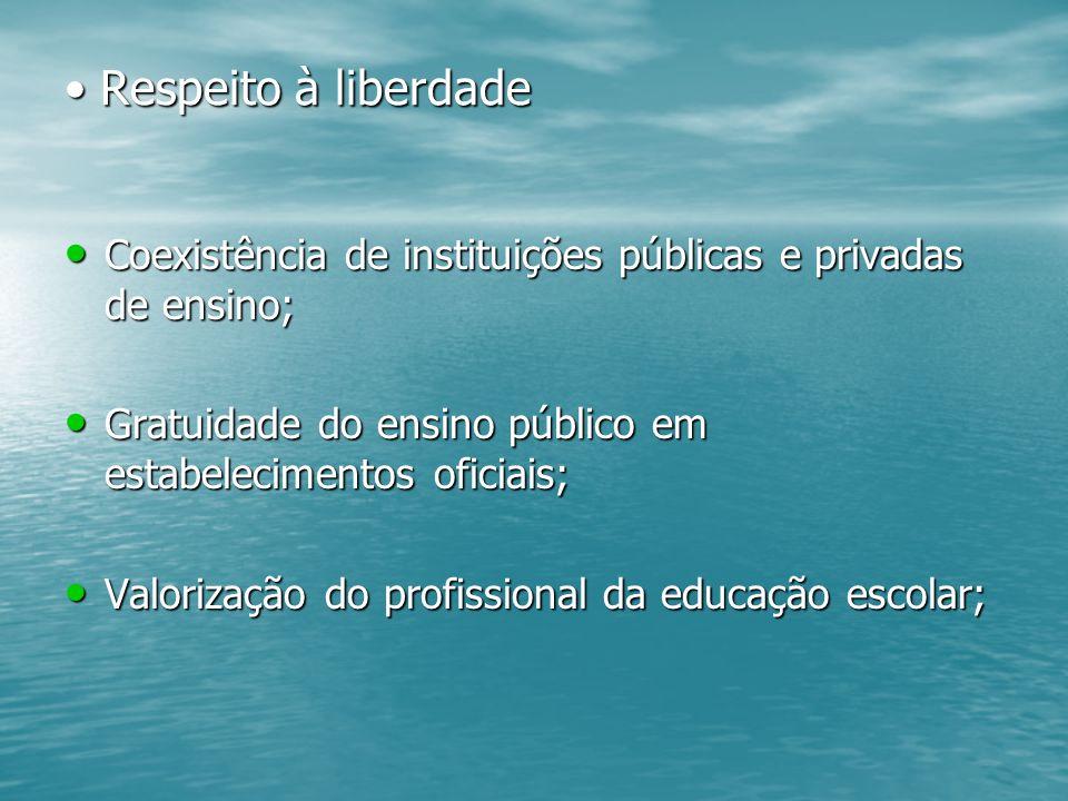 Respeito à liberdade Coexistência de instituições públicas e privadas de ensino; Gratuidade do ensino público em estabelecimentos oficiais;