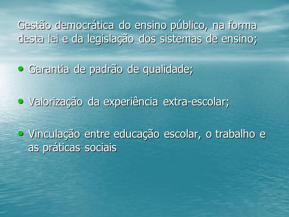 Gestão democrática do ensino público, na forma desta lei e da legislação dos sistemas de ensino;