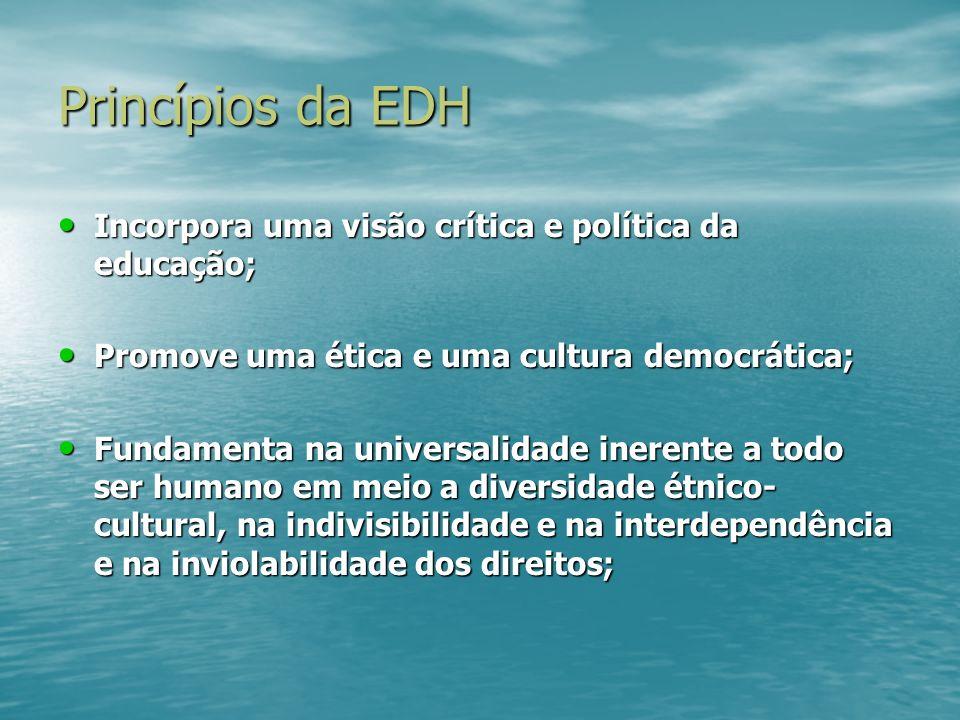 Princípios da EDH Incorpora uma visão crítica e política da educação;