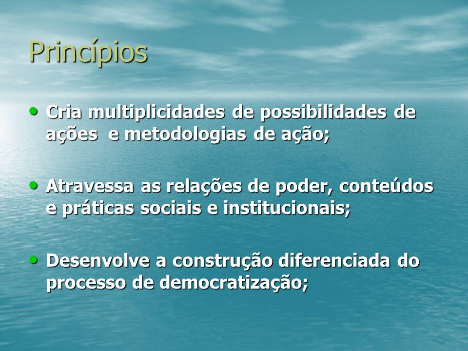 Princípios Cria multiplicidades de possibilidades de ações e metodologias de ação;