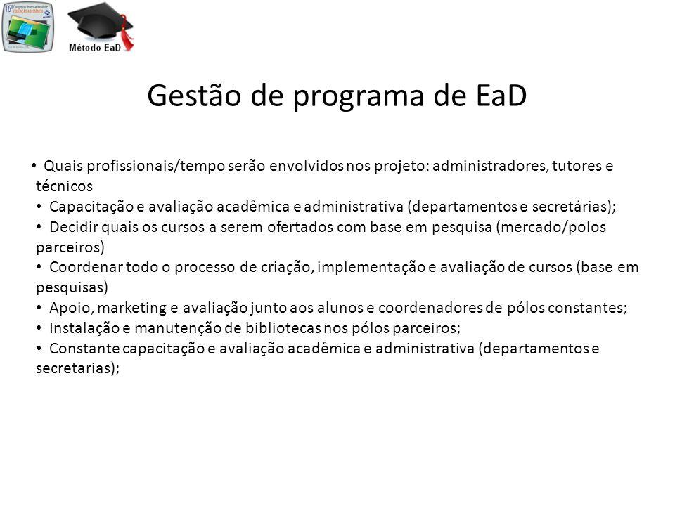 Gestão de programa de EaD