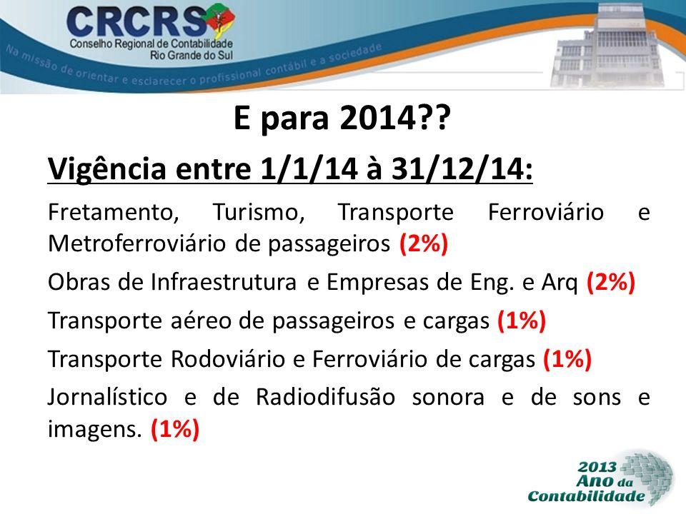 E para 2014 Vigência entre 1/1/14 à 31/12/14: