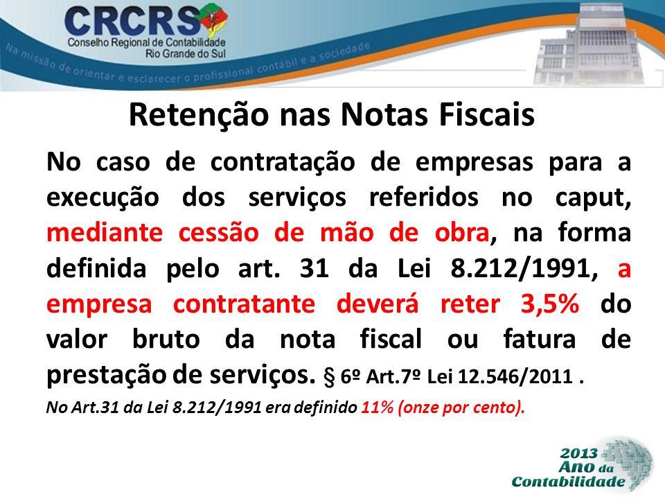 Retenção nas Notas Fiscais