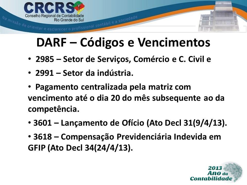 DARF – Códigos e Vencimentos