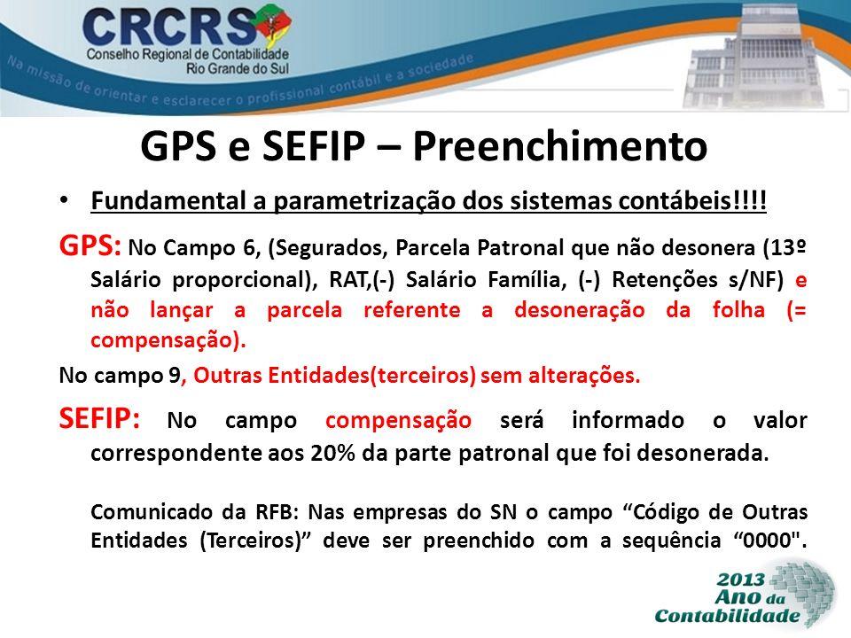 GPS e SEFIP – Preenchimento