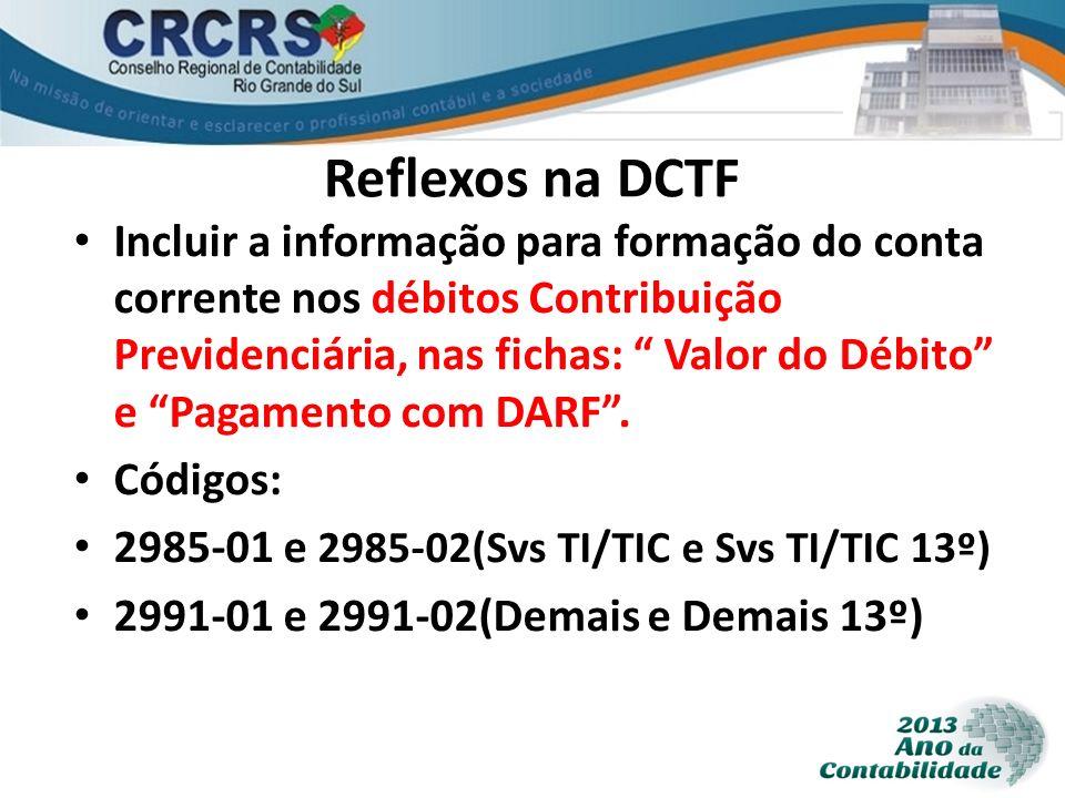 Reflexos na DCTF