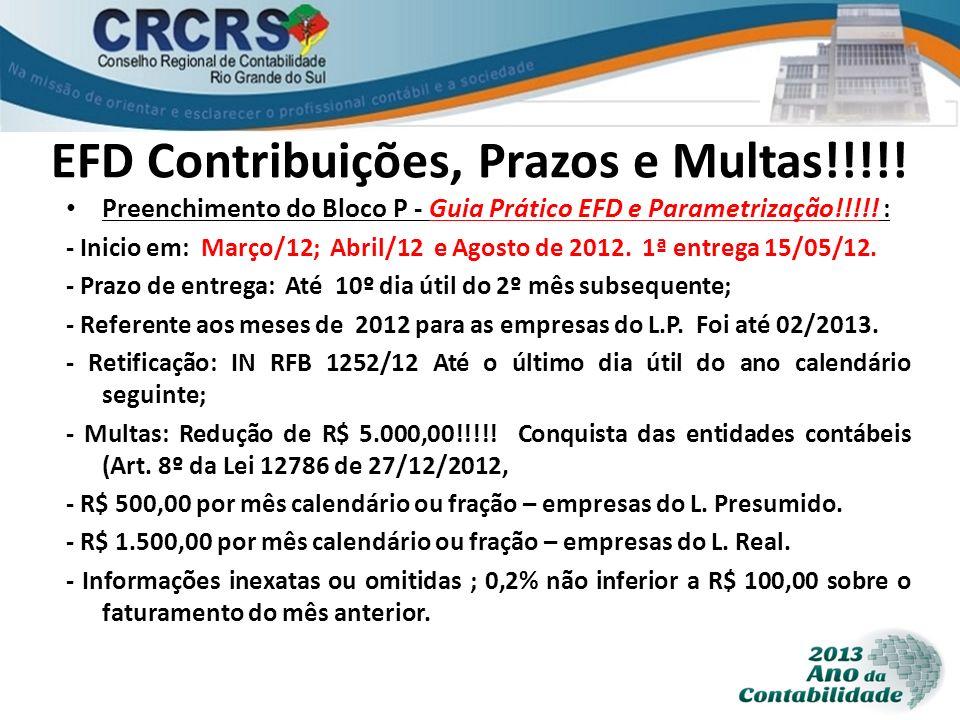 EFD Contribuições, Prazos e Multas!!!!!