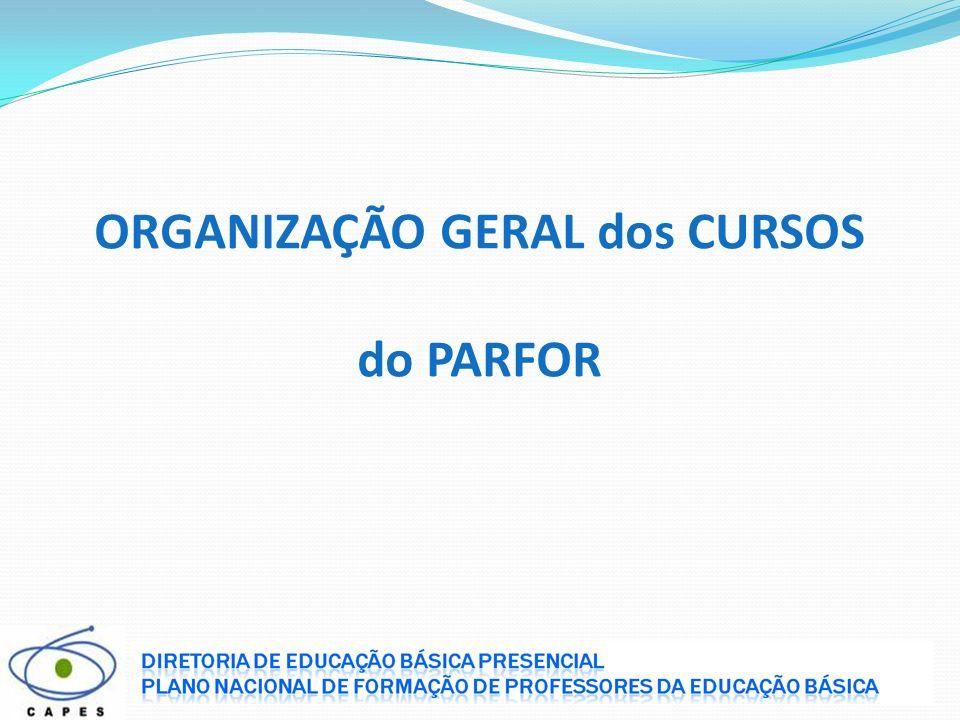 ORGANIZAÇÃO GERAL dos CURSOS do PARFOR