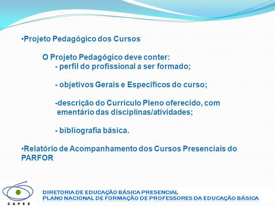 Projeto Pedagógico dos Cursos
