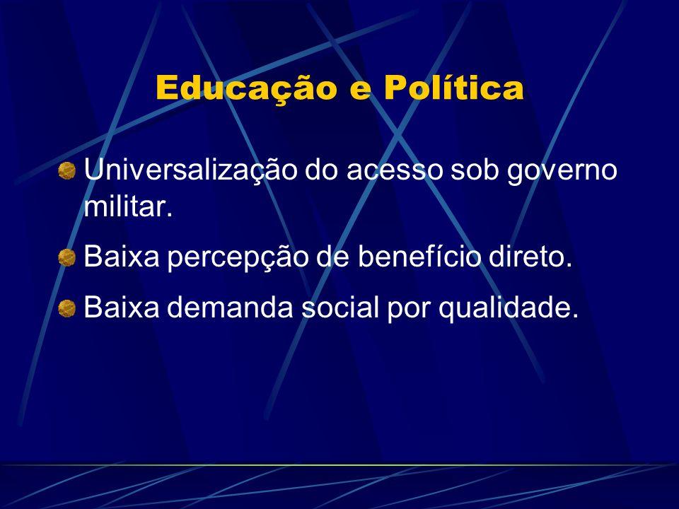 Educação e Política Universalização do acesso sob governo militar.