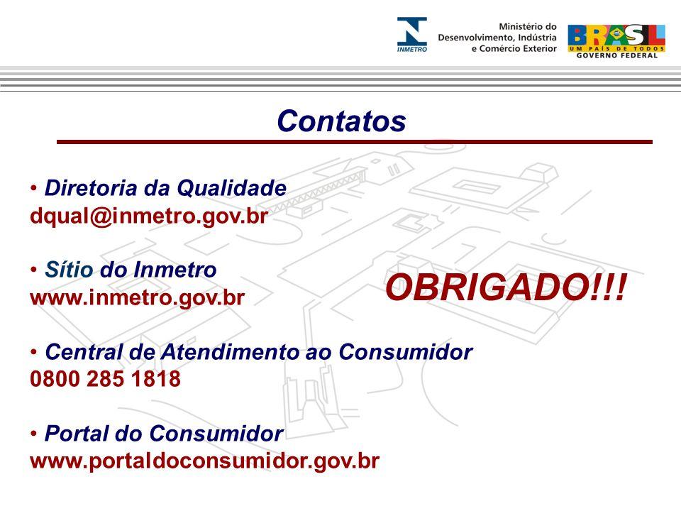 OBRIGADO!!! Contatos Diretoria da Qualidade dqual@inmetro.gov.br
