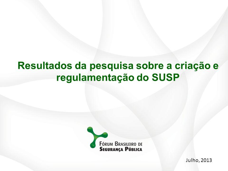 Resultados da pesquisa sobre a criação e regulamentação do SUSP