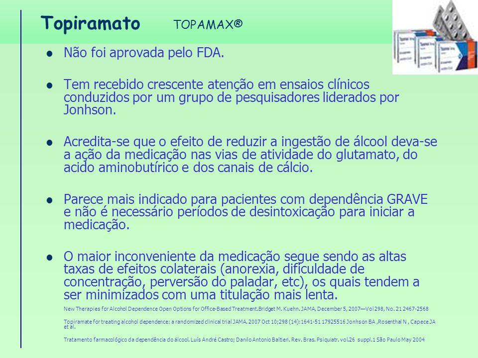 Topiramato Não foi aprovada pelo FDA.