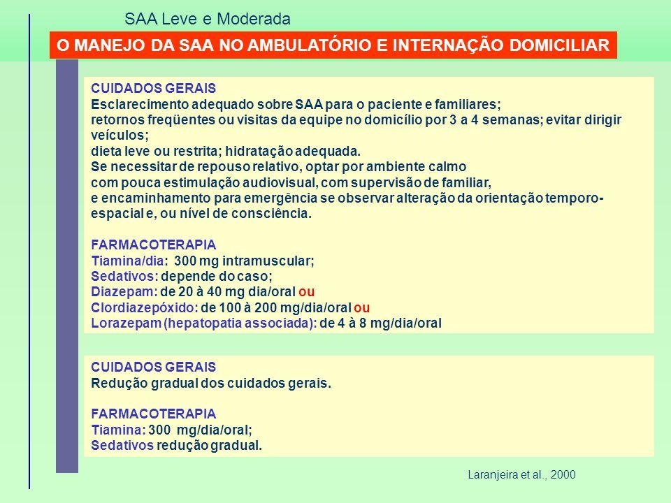 O MANEJO DA SAA NO AMBULATÓRIO E INTERNAÇÃO DOMICILIAR