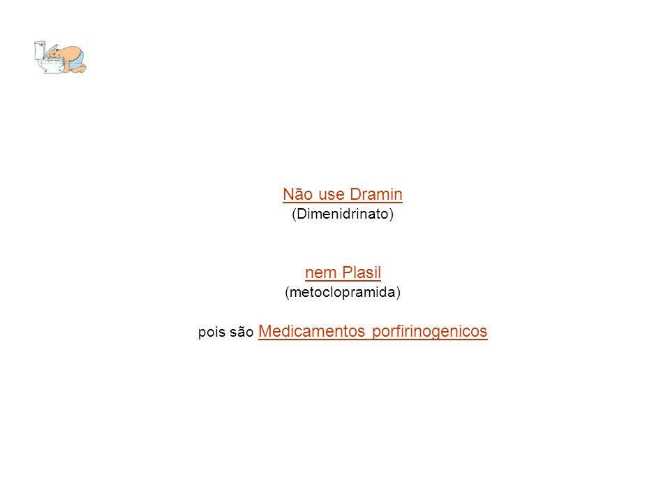 Não use Dramin (Dimenidrinato) nem Plasil (metoclopramida) pois são Medicamentos porfirinogenicos