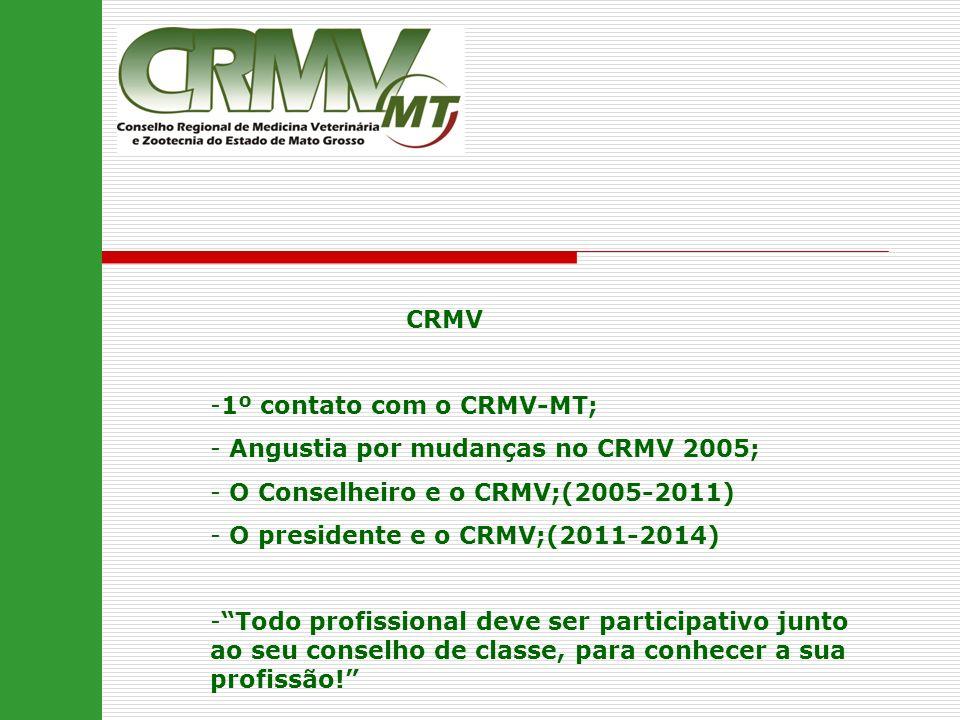 CRMV 1º contato com o CRMV-MT; Angustia por mudanças no CRMV 2005; O Conselheiro e o CRMV;(2005-2011)