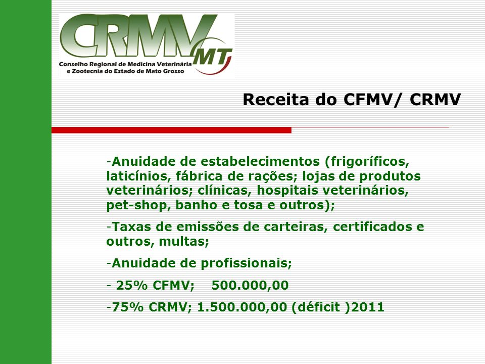 Receita do CFMV/ CRMV