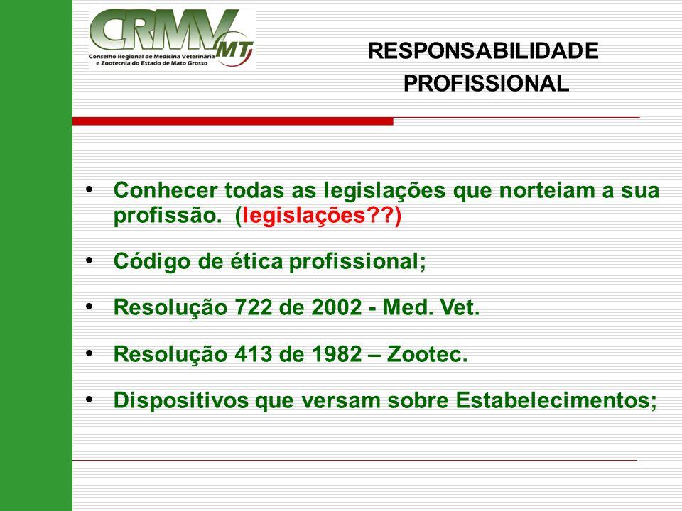 RESPONSABILIDADE PROFISSIONAL. Conhecer todas as legislações que norteiam a sua profissão. (legislações )