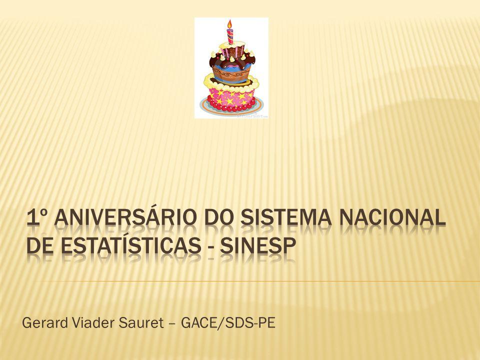 1º ANIVERSÁRIO DO SISTEMA NACIONAL DE ESTATÍSTICAS - SINESP