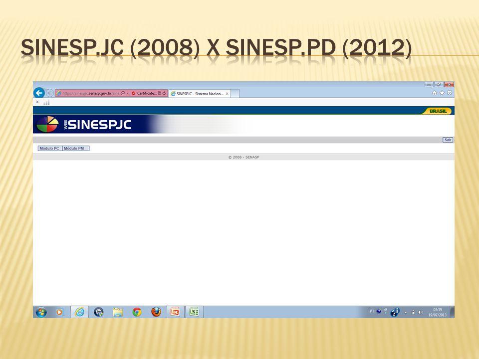 Sinesp.jc (2008) x sinesp.pd (2012)