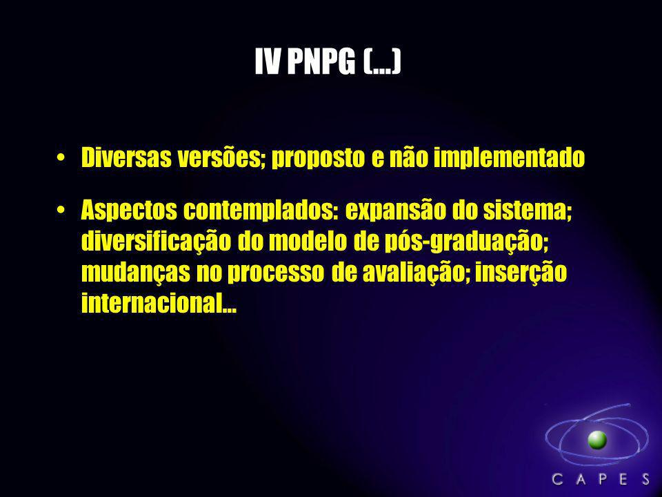 IV PNPG (…) Diversas versões; proposto e não implementado
