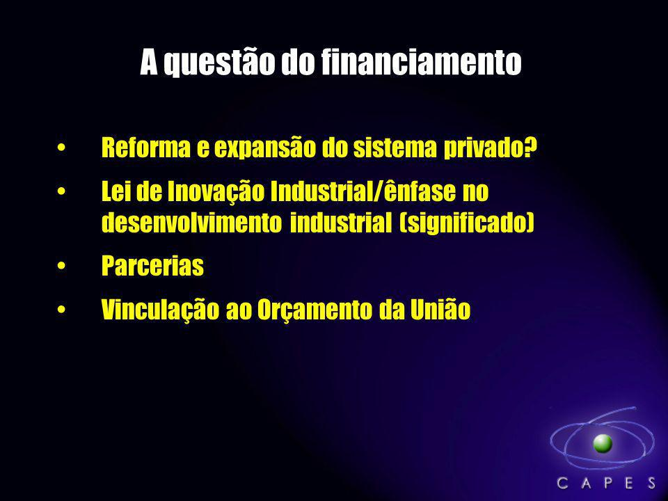 A questão do financiamento