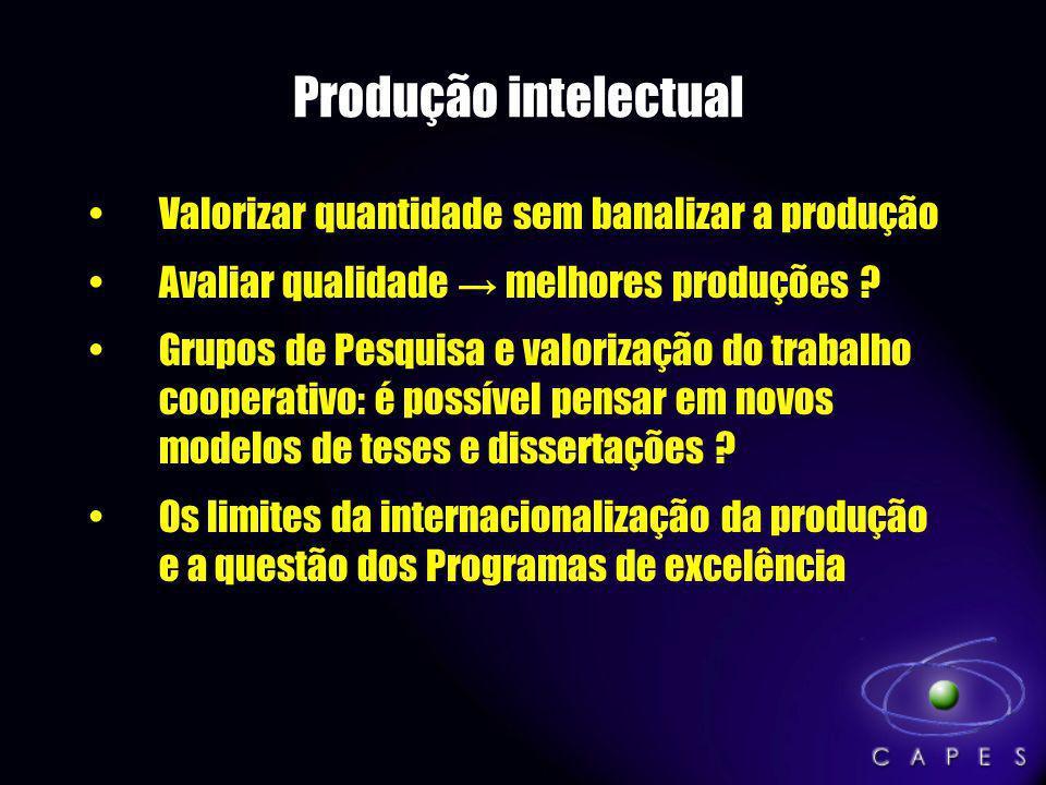Produção intelectual Valorizar quantidade sem banalizar a produção