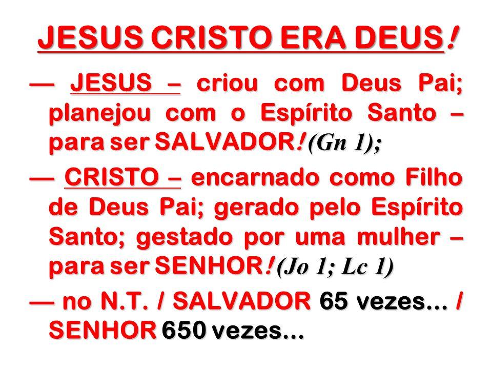 JESUS CRISTO ERA DEUS!