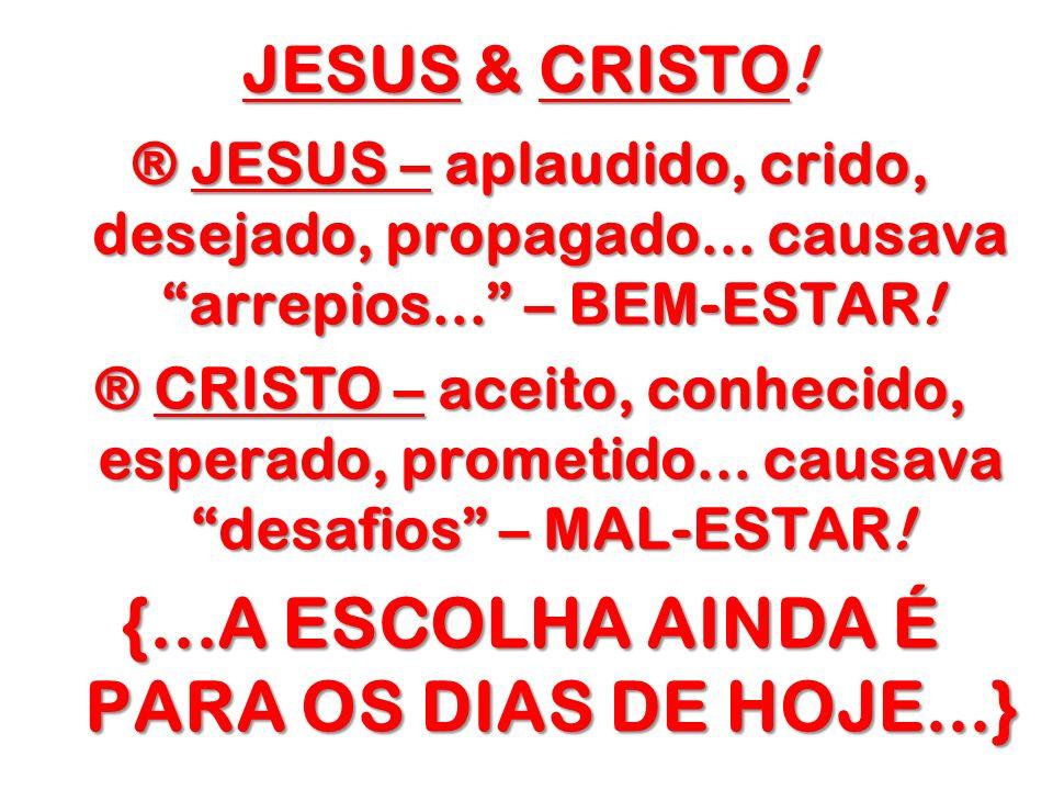 {...A ESCOLHA AINDA É PARA OS DIAS DE HOJE...}