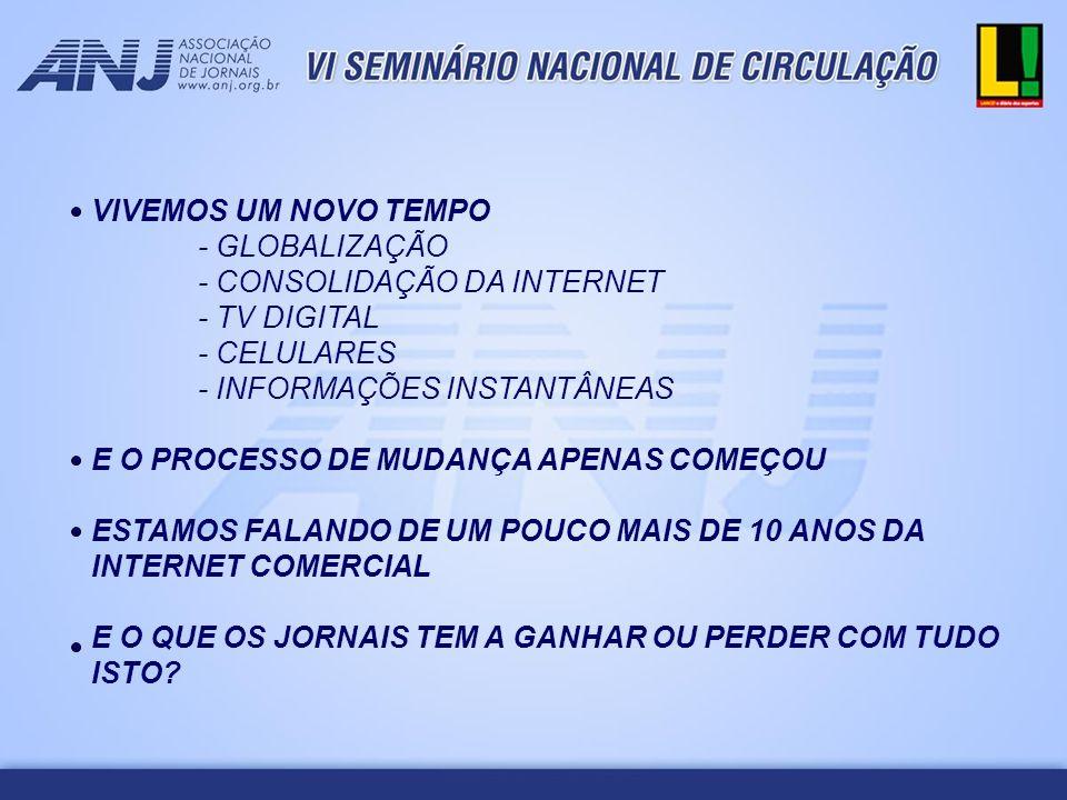 VIVEMOS UM NOVO TEMPO - GLOBALIZAÇÃO. - CONSOLIDAÇÃO DA INTERNET. - TV DIGITAL. - CELULARES. - INFORMAÇÕES INSTANTÂNEAS.
