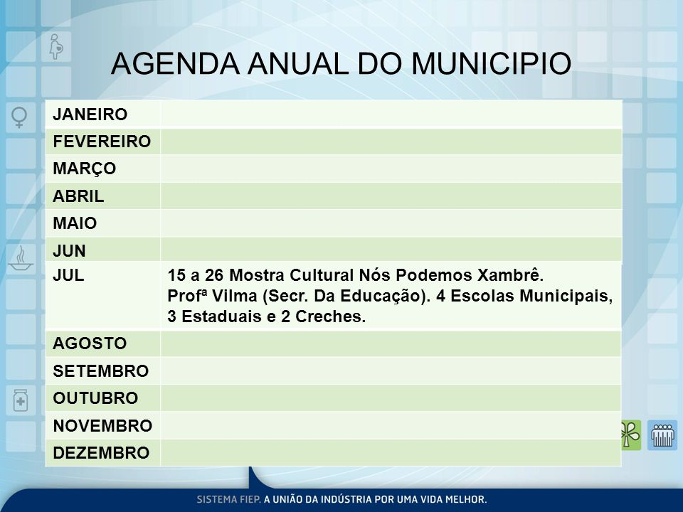 AGENDA ANUAL DO MUNICIPIO