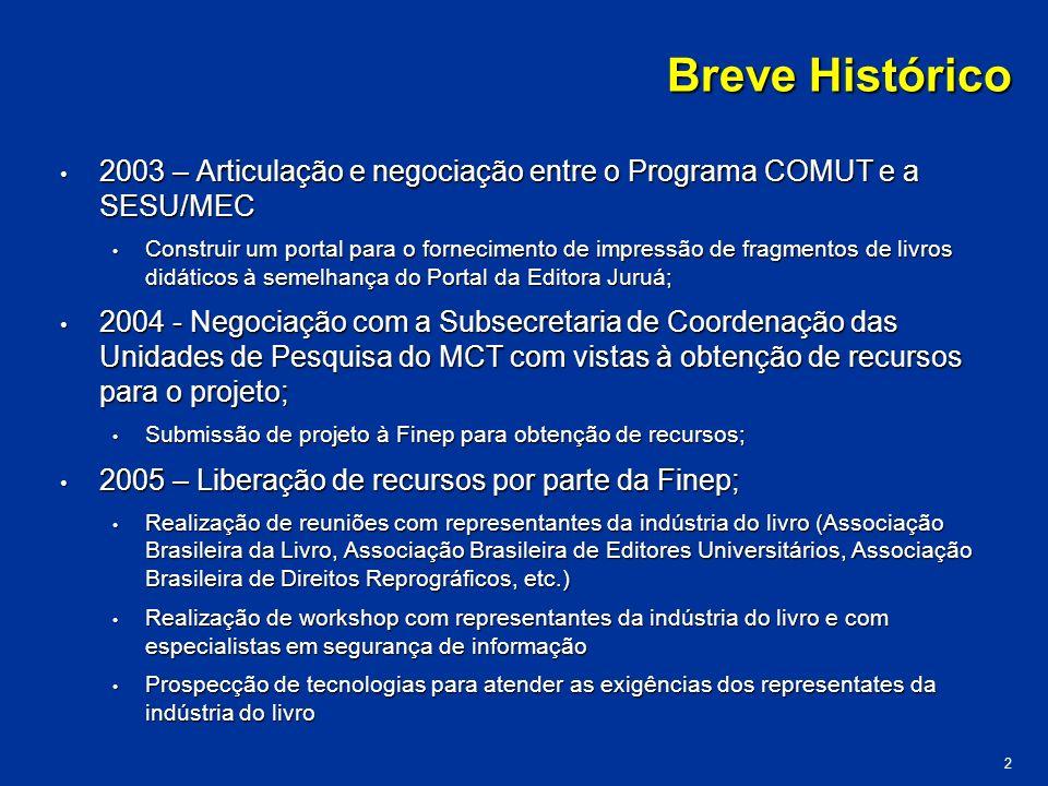 Breve Histórico 2003 – Articulação e negociação entre o Programa COMUT e a SESU/MEC.