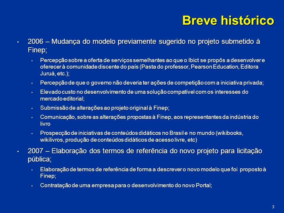Breve histórico 2006 – Mudança do modelo previamente sugerido no projeto submetido à Finep;