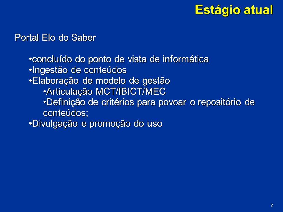 Estágio atual Portal Elo do Saber