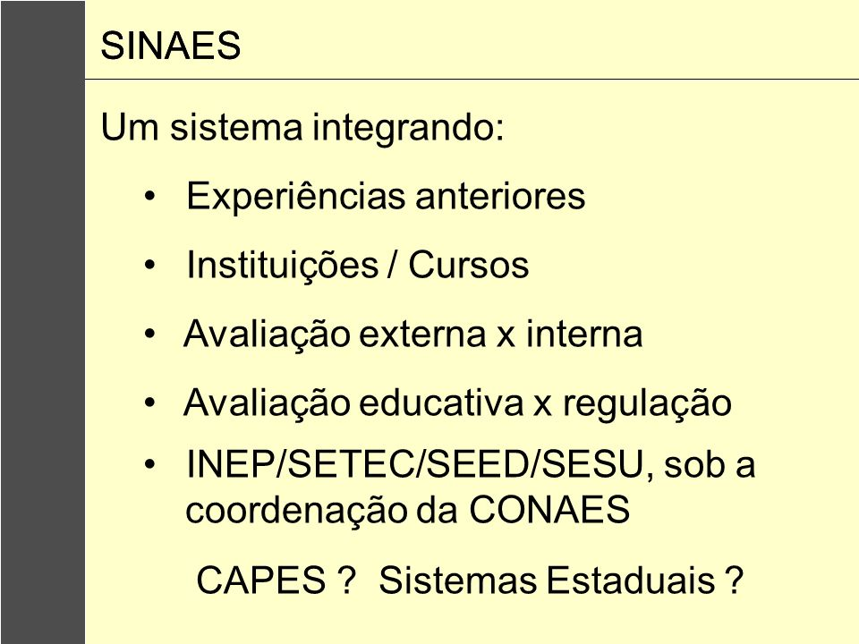 SINAESSINAES. Um sistema integrando: Experiências anteriores. Instituições / Cursos. Avaliação externa x interna.