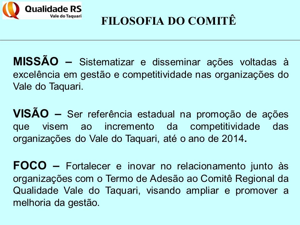 FILOSOFIA DO COMITÊ MISSÃO – Sistematizar e disseminar ações voltadas à excelência em gestão e competitividade nas organizações do Vale do Taquari.