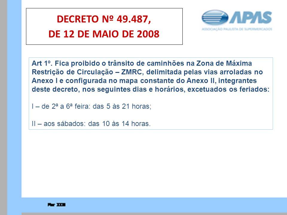 DECRETO Nº 49.487, DE 12 DE MAIO DE 2008 Art 1º. Fica proibido o trânsito de caminhões na Zona de Máxima.