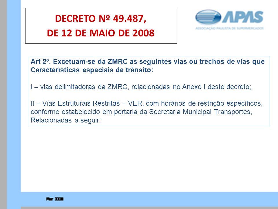 DECRETO Nº 49.487, DE 12 DE MAIO DE 2008 Art 2º. Excetuam-se da ZMRC as seguintes vias ou trechos de vias que.