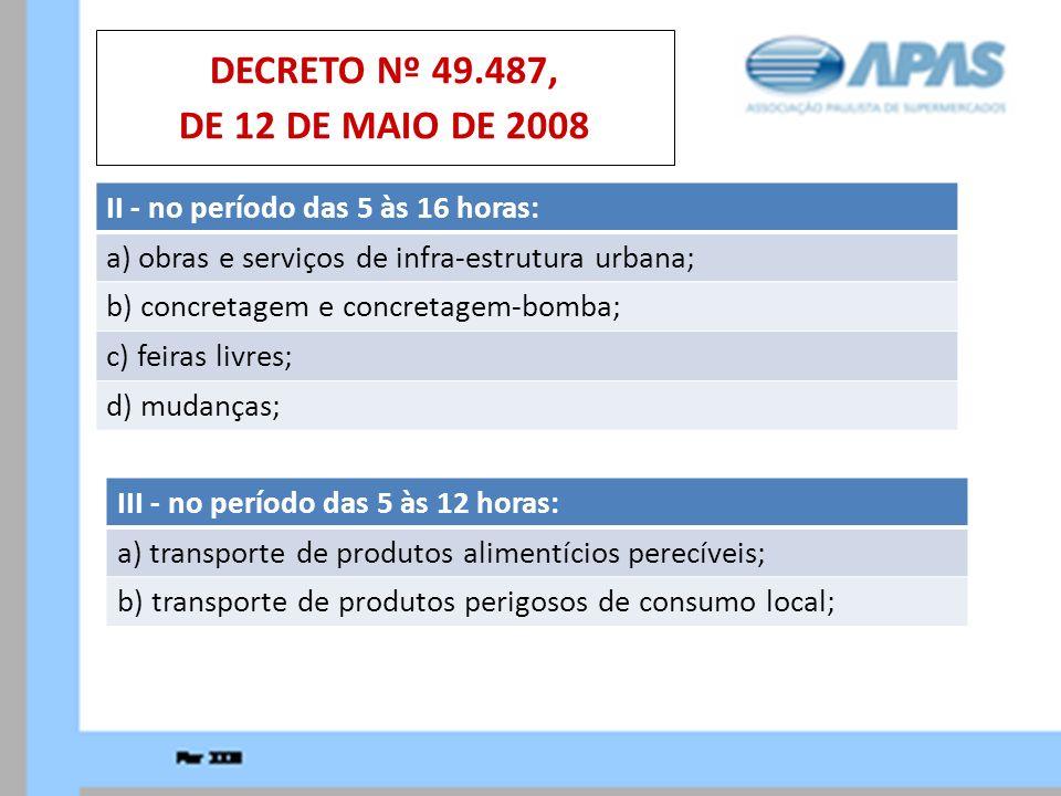 DECRETO Nº 49.487, DE 12 DE MAIO DE 2008 II - no período das 5 às 16 horas: a) obras e serviços de infra-estrutura urbana;