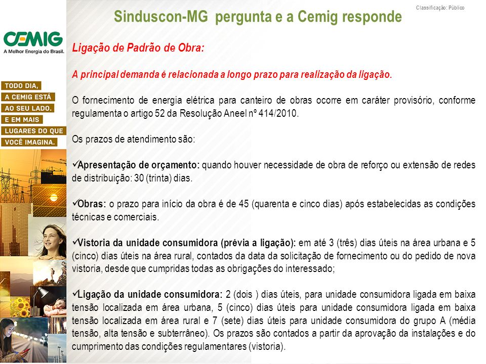 Sinduscon-MG pergunta e a Cemig responde