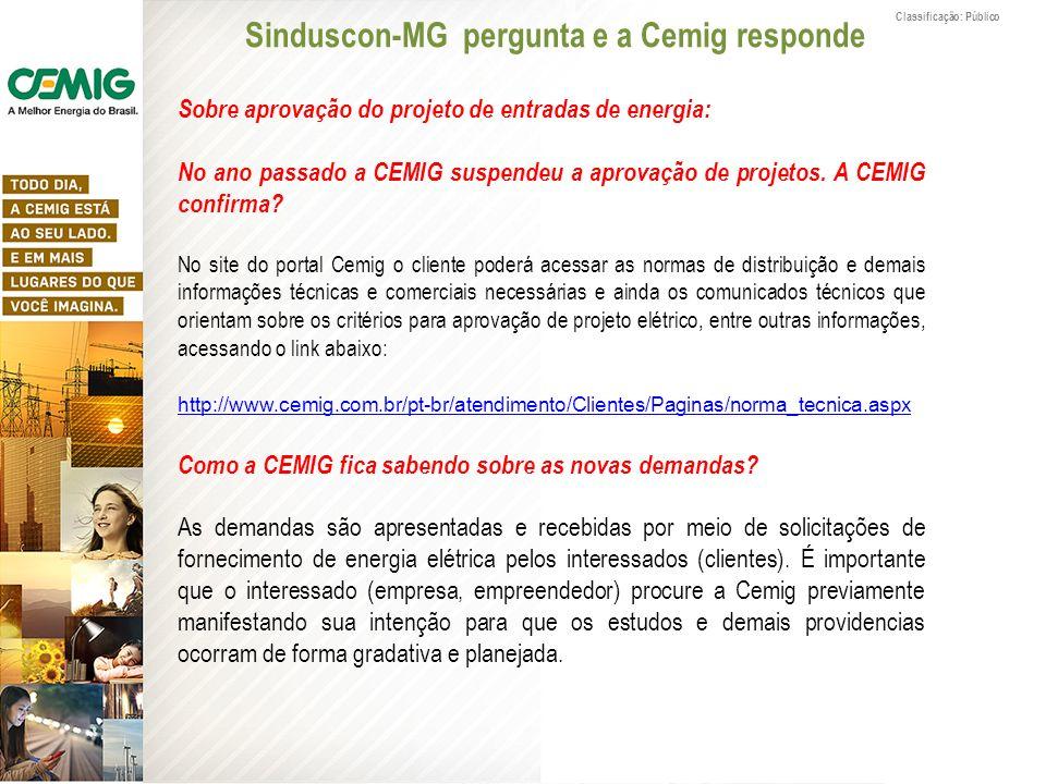 Sinduscon-MG pergunta e a Cemig responde Classificação: Público