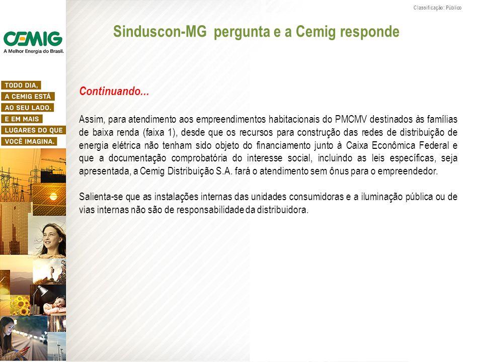 Classificação: Público Sinduscon-MG pergunta e a Cemig responde