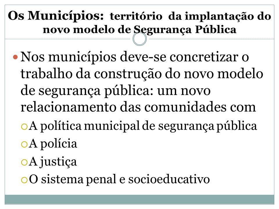 Os Municípios: território da implantação do novo modelo de Segurança Pública