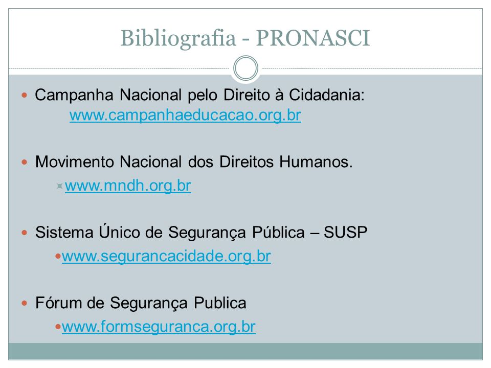 Bibliografia - PRONASCI
