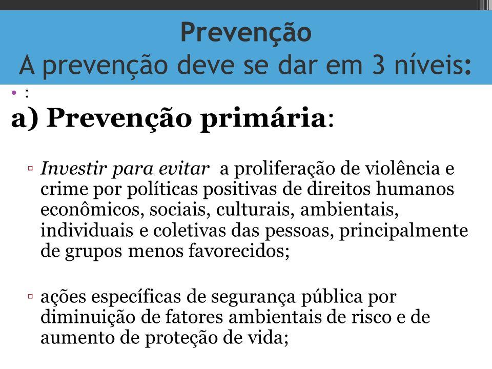 Prevenção A prevenção deve se dar em 3 níveis: