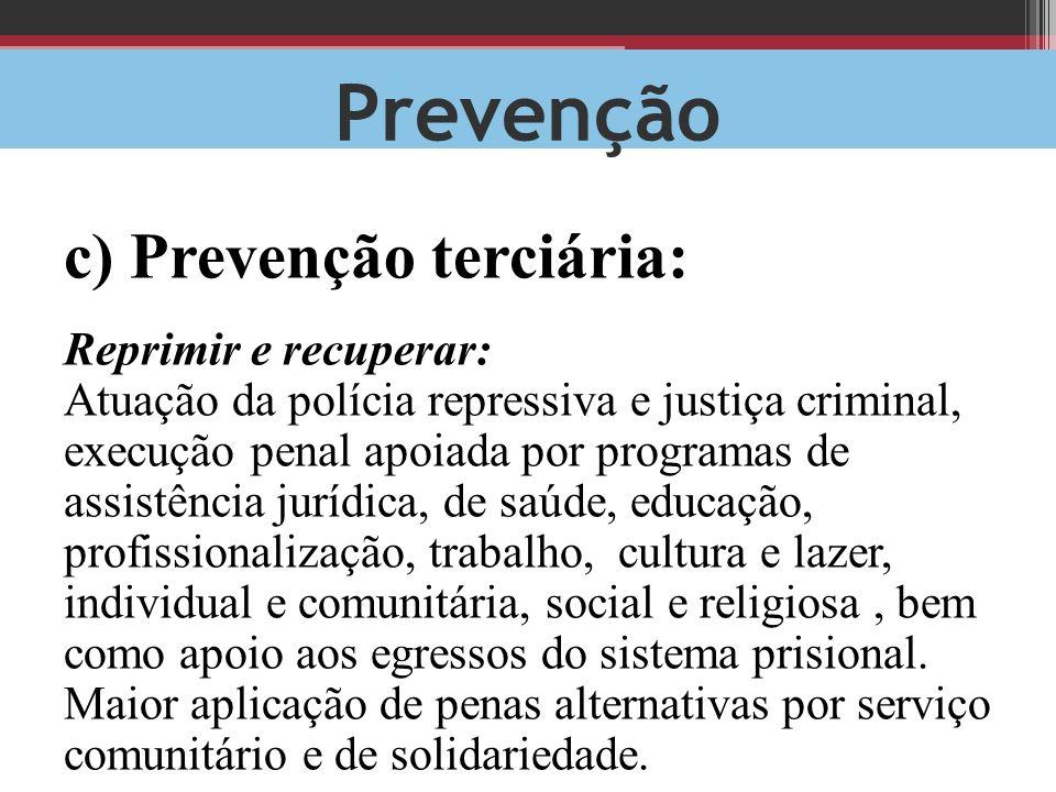 Prevenção c) Prevenção terciária: Reprimir e recuperar: