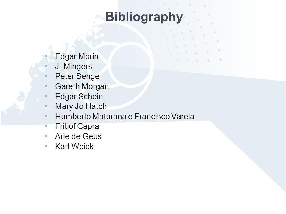 Bibliography Edgar Morin J. Mingers Peter Senge Gareth Morgan
