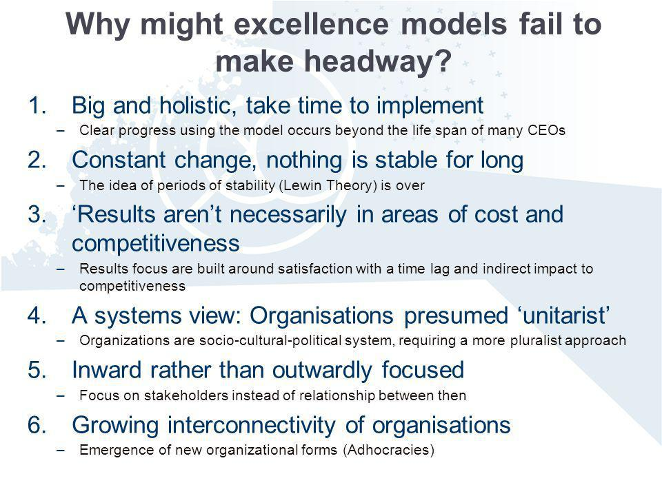 Why might excellence models fail to make headway